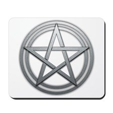 Silver Metal Pagan Pentacle Mousepad