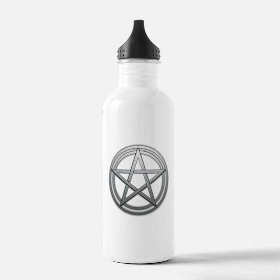 Silver Metal Pagan Pentacle Water Bottle