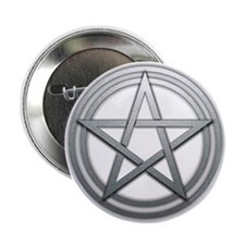 "Silver Metal Pagan Pentacle 2.25"" Button"