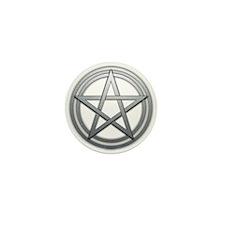 Silver Metal Pagan Pentacle Mini Button (100 pack)
