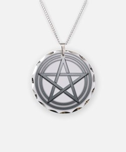 Silver Metal Pagan Pentacle Necklace