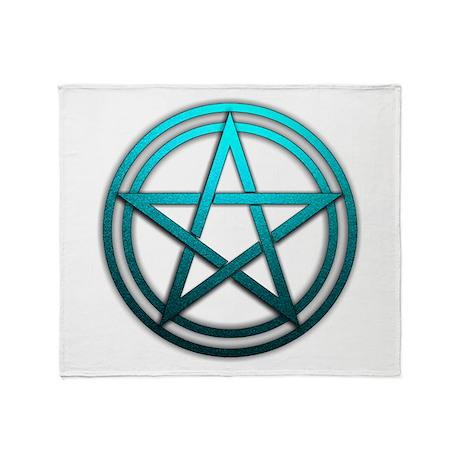 Teal Metal Pagan Pentacle Throw Blanket