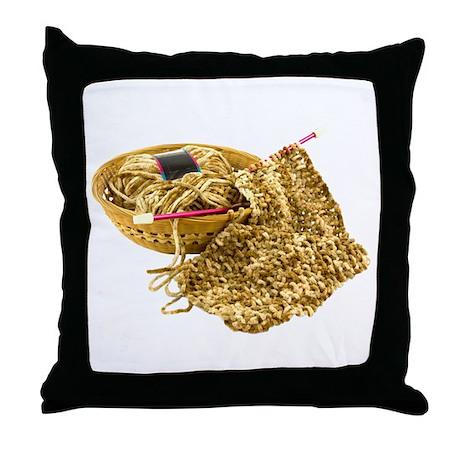Hand Knit Chenille Yarn Throw Pillow