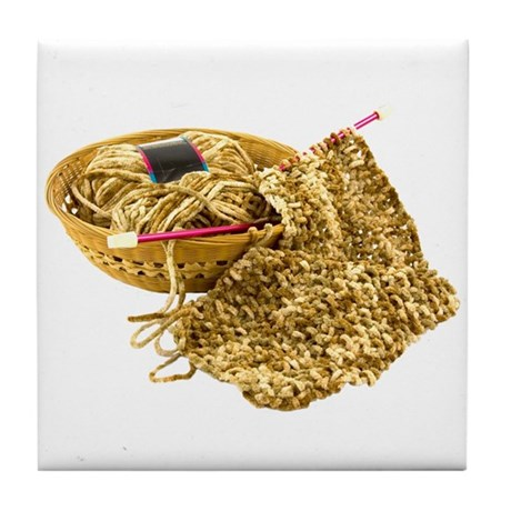 Hand Knit Chenille Yarn Tile Coaster