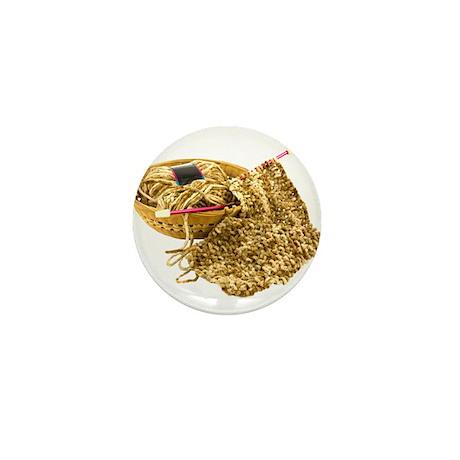 Hand Knit Chenille Yarn Mini Button