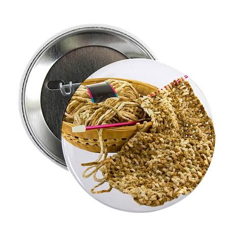 "Hand Knit Chenille Yarn 2.25"" Button"