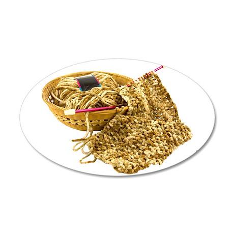 Hand Knit Chenille Yarn 22x14 Oval Wall Peel