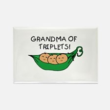 Grandma of Triplets Pod Rectangle Magnet