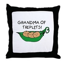 Grandma of Triplets Pod Throw Pillow
