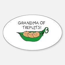 Grandma of Triplets Pod Oval Bumper Stickers