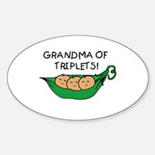 Grandma of Triplets Pod Oval Decal