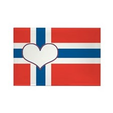 norwegian flag heart Rectangle Magnet