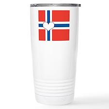 norwegian flag heart Travel Mug