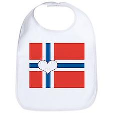 norwegian flag heart Bib