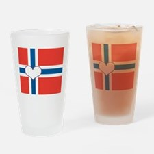 norwegian flag heart Drinking Glass