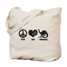 Peace Love Dinosaurs Tote Bag