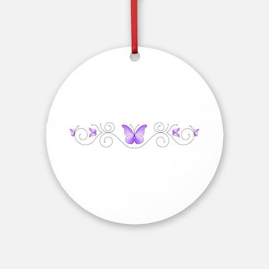 Purple Butterflies Ornament (Round)