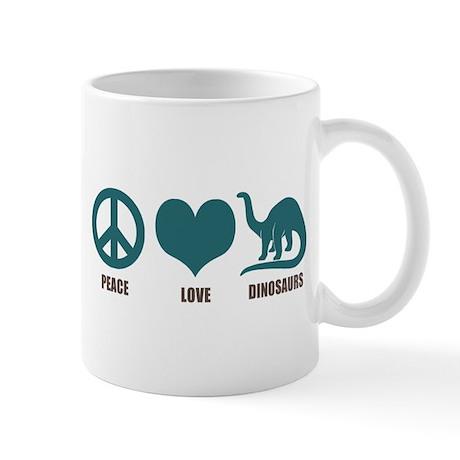 Peace Love Dinosaurs Mug