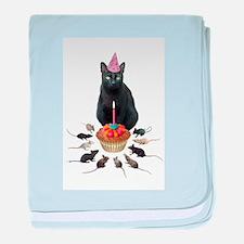 Black Cat Birthday Rats baby blanket