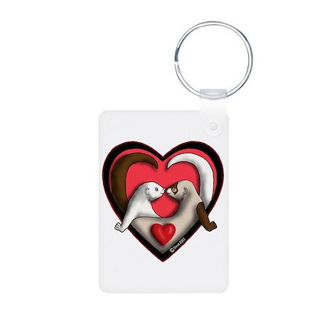 Ferret Heart Photo Keychain
