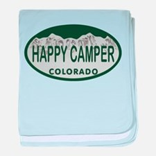 Happy Camper Colo License Plate baby blanket