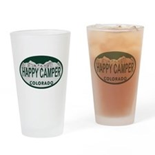 Happy Camper Colo License Plate Drinking Glass