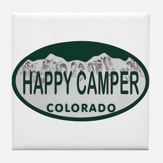 Happy Camper Colo License Plate Tile Coaster
