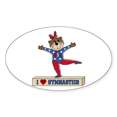 I Love Gymnastics Sticker (Oval)