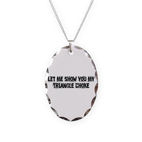 Triangle Choke Necklace Oval Charm