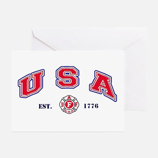 USA Firefighter Greeting Cards (Pk of 10)