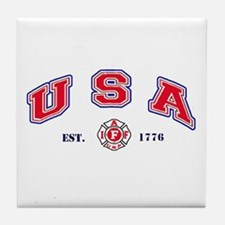 USA Firefighter Tile Coaster