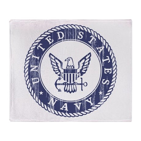 Distressed USN Logo Throw Blanket