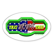 """Moms Taxi """"USA"""" Oval Decal"""