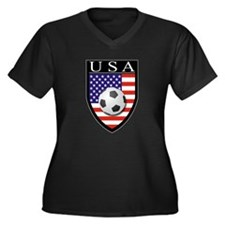 USA Soccer Patch Women's Plus Size V-Neck Dark T-S