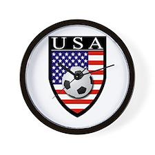 USA Soccer Patch Wall Clock