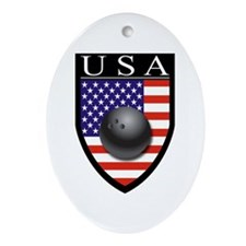 USA Bowling Patch Ornament (Oval)