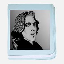 Oscar Wilde portrait-only ite baby blanket
