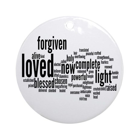 Who I am in Christ Word Collage Ornament (Round)