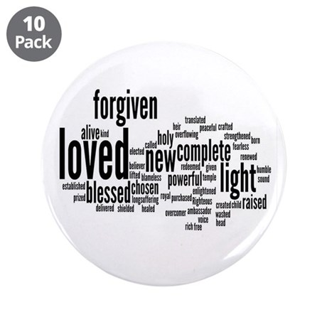 """Who I am in Christ Word Collage 3.5"""" Button (10 pa"""