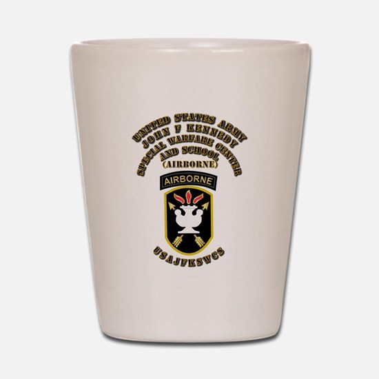 SOF - USAJFKSWCS SSI with Text Shot Glass