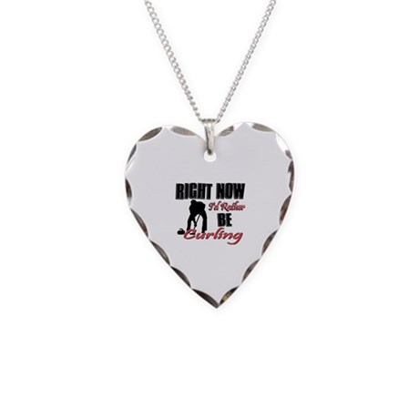 Curling Gift Designs Necklace Heart Charm