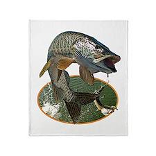 Musky Fishing Throw Blanket