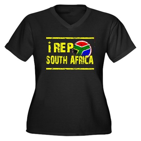 I rep South Africa Women's Plus Size V-Neck Dark T