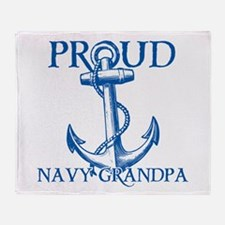 Proud Navy Grandpa Throw Blanket