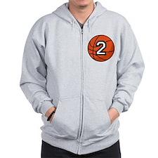 Basketball Player Number 2 Zip Hoodie