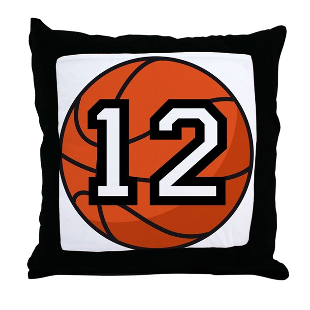 Basketball Player Number 12 Throw Pillow By