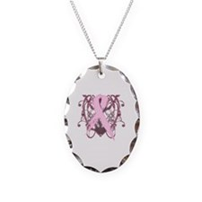 Breast Cancer Pink Spiral Necklace Oval Charm