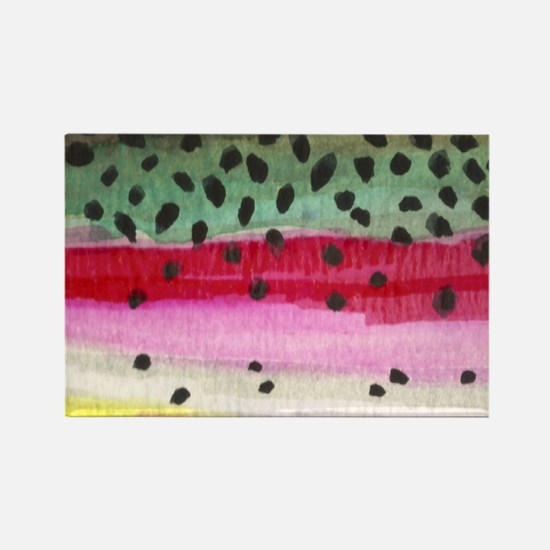 Rainbow Trout Skin Fishing Rectangle Magnet