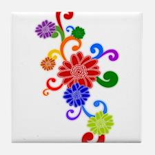 Retro Rainbow Flowers Tile Coaster