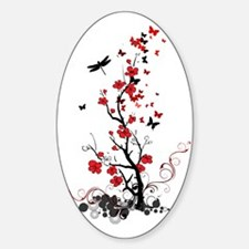 Black and Red Flowers Decal